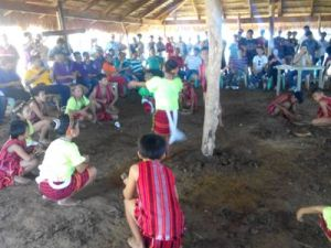 The students of Naguimba School of Living Traditions of Elementary School performs Tadek dance  before the proper tree planting at sitio Mindanao, Amguid, Candon City, Ilocos Sur