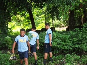 One tree planting activity that policemen participated.